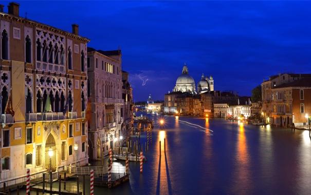 Фото обои небо, ночь, огни, дома, Италия, Венеция, собор