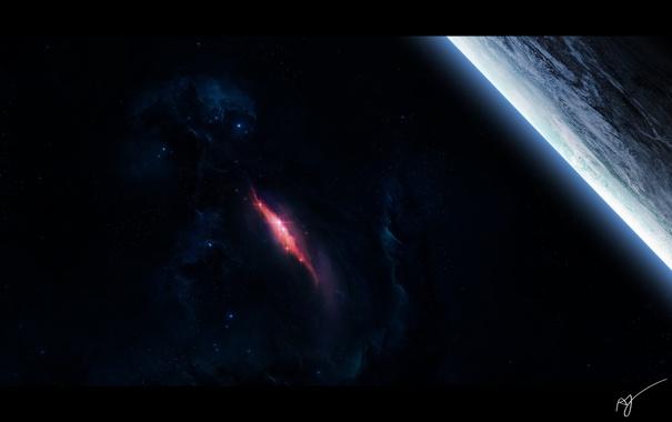 Фото обои сияние, спутник, титан