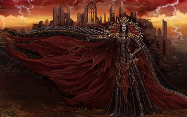 Фото обои молнии, меч, арт, броня, руины, парень, плащ