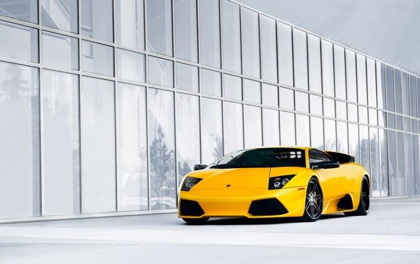 Фото обои желтый, суперкар, Lamborghini Murcielago, ламборгини, мурсиелаго