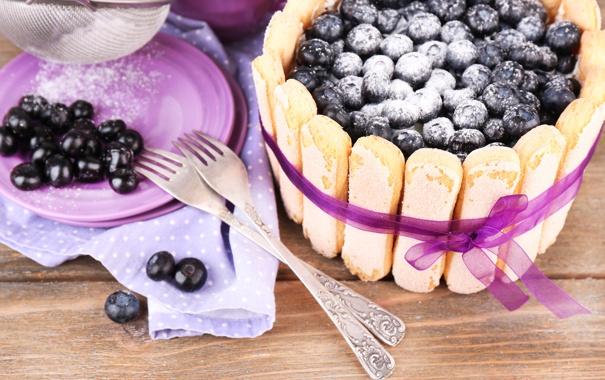 Фото обои ягоды, еда, печенье, черника, торт, сахар, десерт