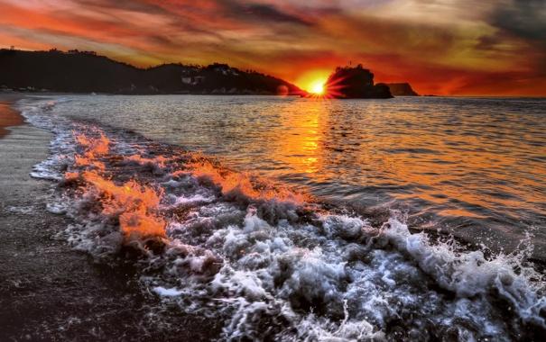 Фото обои море, волны, пена, закат, морская