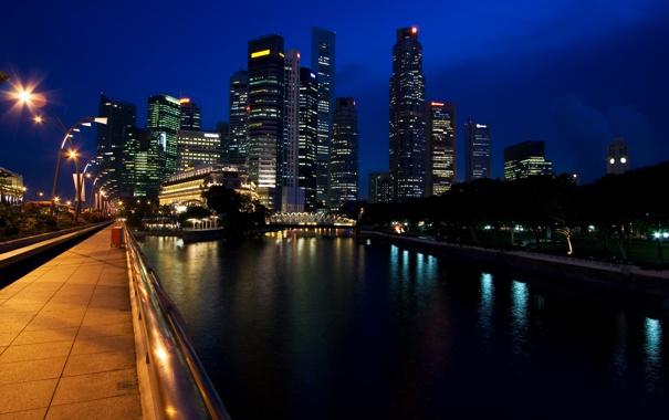 Фото обои море, свет, деревья, ночь, city, город, озеро