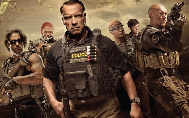 Фото обои Monster, Арнольд Шварценеггер, Arnold Schwarzenegger, Grin, Сэм Уортингтон, Terrence Howard, Sugar