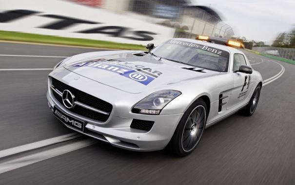 Фото обои авто, огни, Mercedes-Benz, скорость, AMG, SLS, передок