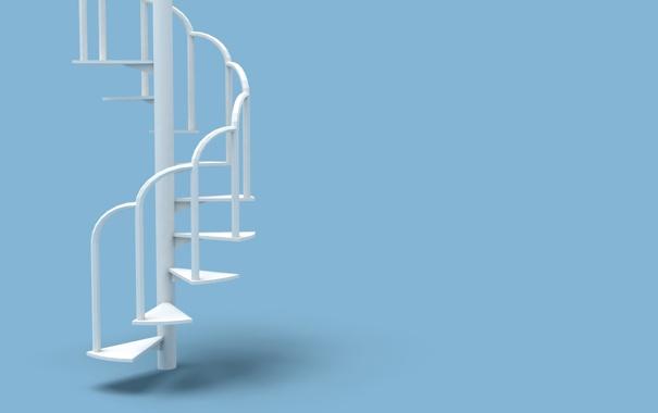 Фото обои белый, интерьер, минимализм, лестница, ступеньки, голубой фон