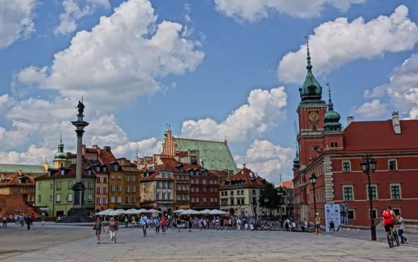 Фото обои небо, люди, площадь, Польша, Варшава, колонна, королевский замок