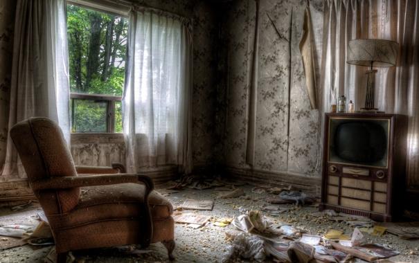 Фото обои телевизор, кресло, комната