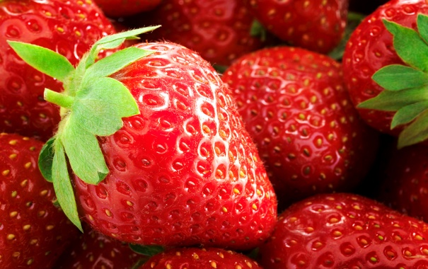 Фото обои земляника, листик, клубника, ягода, макро