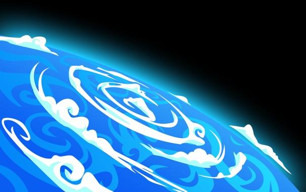 Фото обои земля, рисунок, планета, циклон