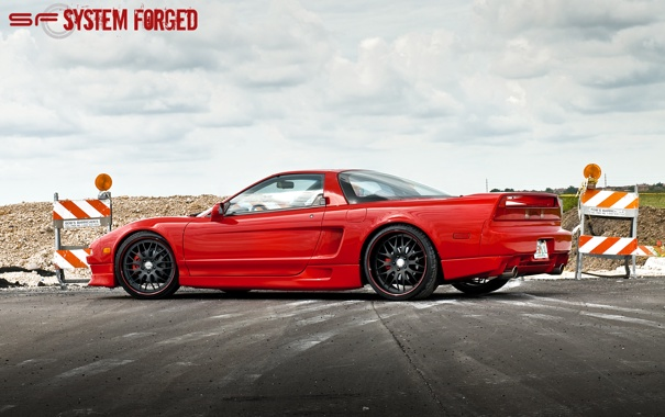 Фото обои red, красная, задняя часть, акура, Acura, NSX, sf system forged