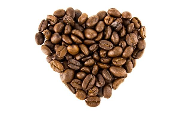 Фото обои любовь, сердце, кофе, зерна, love, heart, coffee