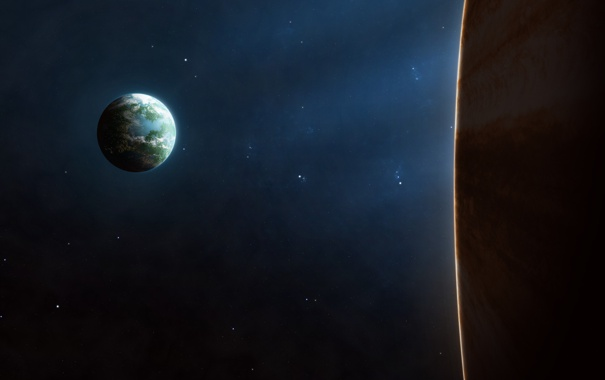 Фото обои космос, звезды, планета, спутник, атмосфера
