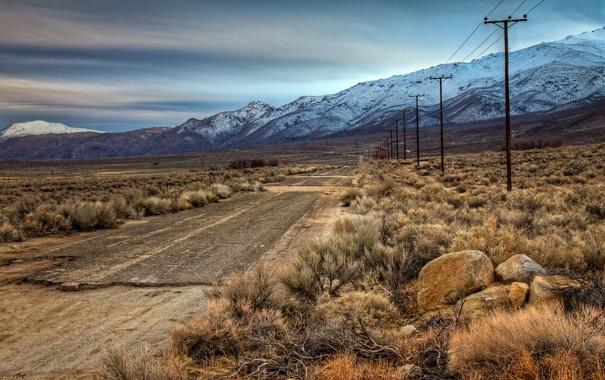 Фото обои горы, поле, пейзаж, дорога