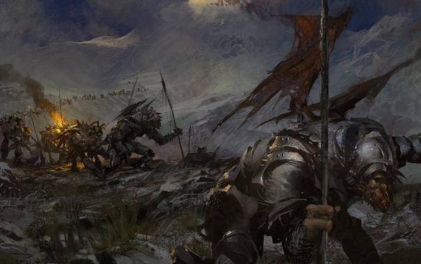 Фото обои горы, армия, доспехи, монстры, солдаты, guild wars 2