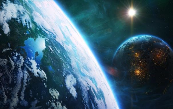 Фото обои космос, планеты, Light, fantastic