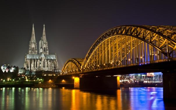 Фото обои ночь, мост, огни, река, собор, германия, germany