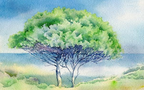 Фото обои пейзаж, дерево, картина, акварель
