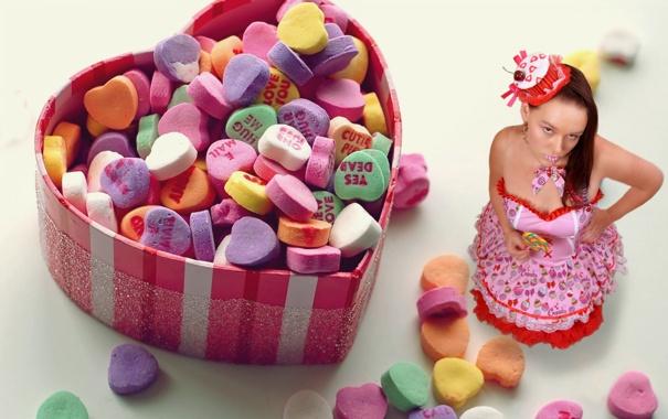 Фото обои девушка, ситуация, конфеты