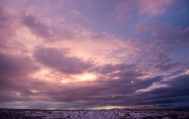 Фото обои небо, облака, фиолетовое