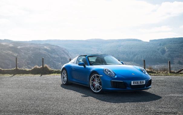 Фото обои 911, Porsche, порше, синяя, Targa, тарга