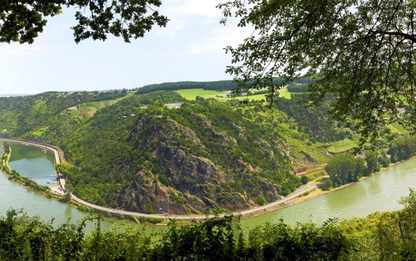 Фото обои небо, деревья, пейзаж, река, холмы, германия