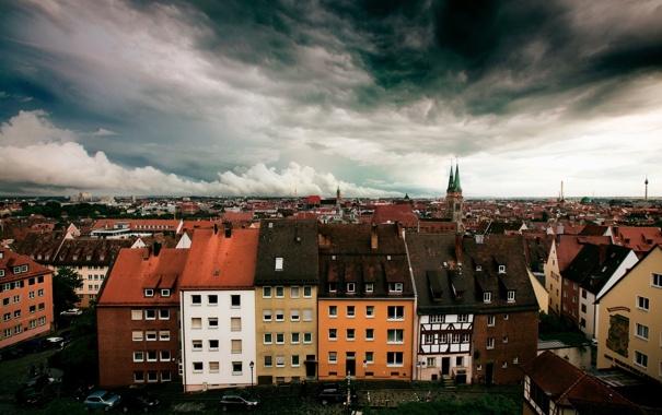 Фото обои небо, город, дома, германия, Нюрнберг