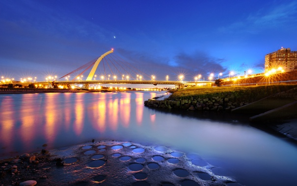 Фото обои мост, город, огни, вечер