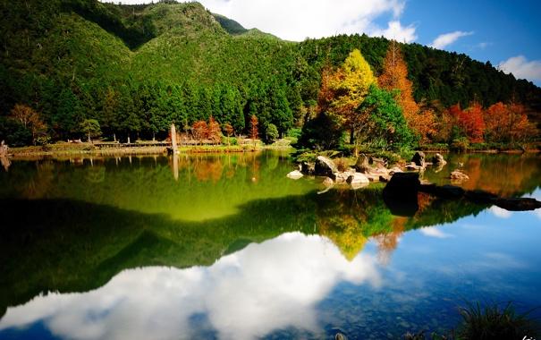 Фото обои зелень, деревья, отражение, река, камни, холмы