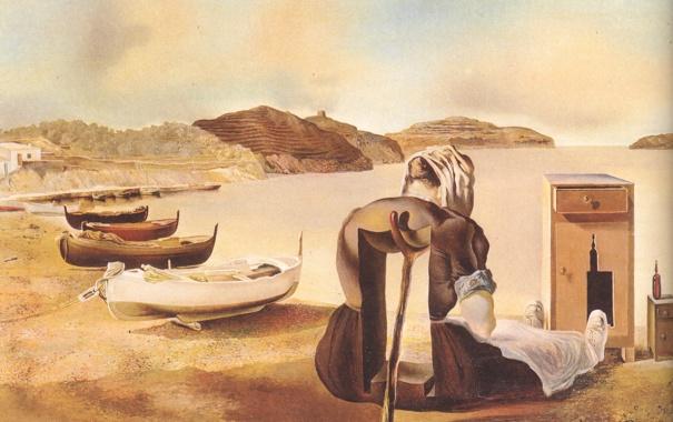 Фото обои горы, дерево, сюрреализм, женщина, лодка, масло, картина