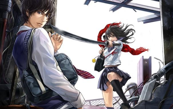 Фото обои девушка, оружие, меч, катана, шарф, арт, сигарета