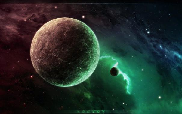 Фото обои космос, звезды, туманность, планета