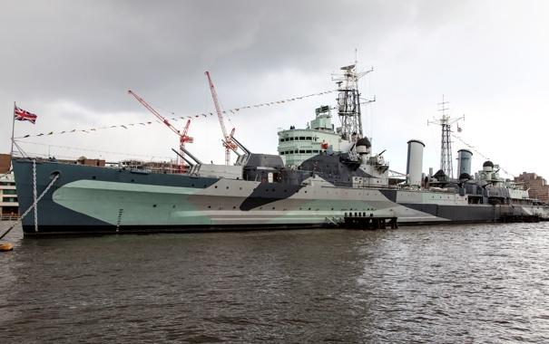 Фото обои Англия, Лондон, крейсер, британский, река Темза, лёгкий, HMS Belfast