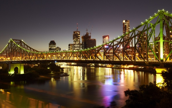 Фото обои ночь, мост, city, огни, дома, Австралия, высотки