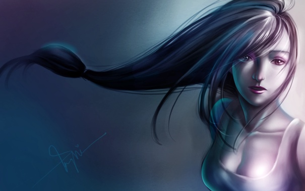 Фото обои девушка, фон, волосы, арт, Final Fantasy VII, Tifa Lockhart