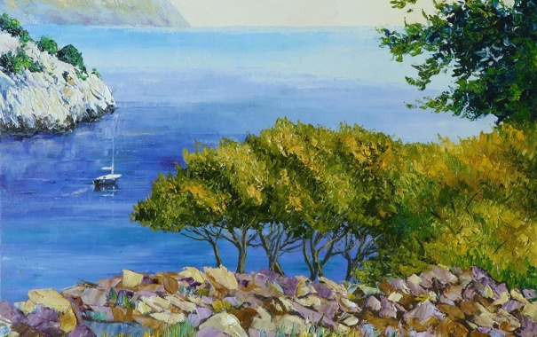 Фото обои море, деревья, пейзаж, камни, скалы, берег, картина