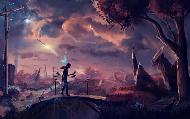Фото обои девушка, мост, дерево, ракета, арт, фонарь