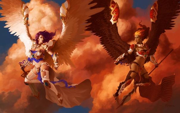 Фото обои облака, оружие, девушки, крылья, ангел, арт, Magic: The Gathering