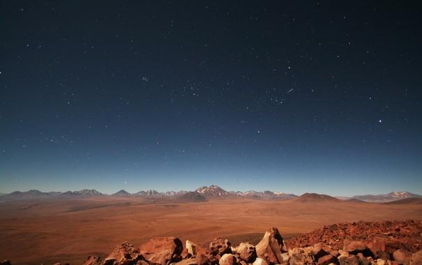 Фото обои небо, звезды, горы, равнина, Чили