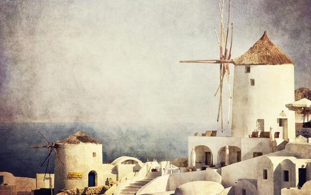Фото обои море, небо, дома, горизонт, мельница, живопись, фильтр