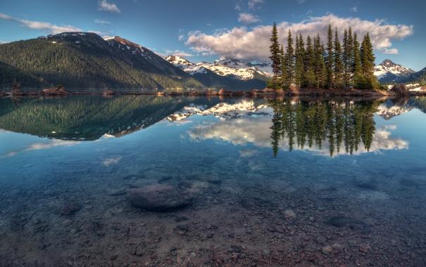 Фото обои деревья, горы, озеро, отражение