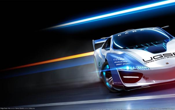 Фото обои машина, свет, полосы, темный фон, скорость, спортивная, ridge racer vita