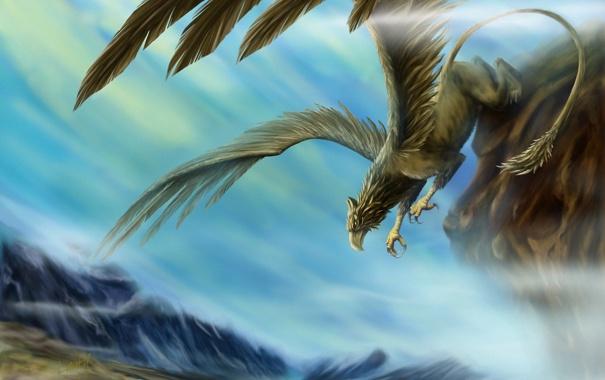 Фото обои облака, скала, вид, крылья, существо, арт, грифон