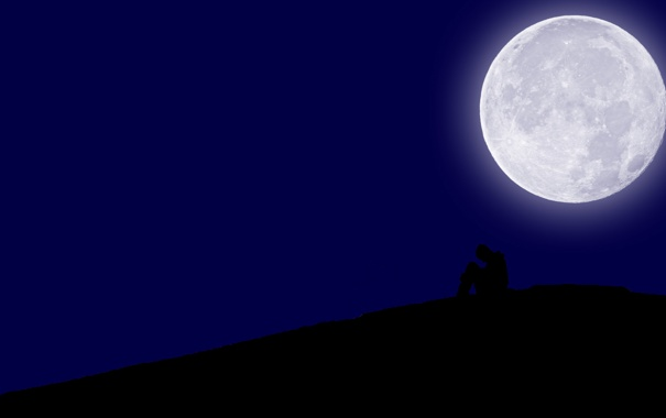 Фото обои грусть, ночь, луна