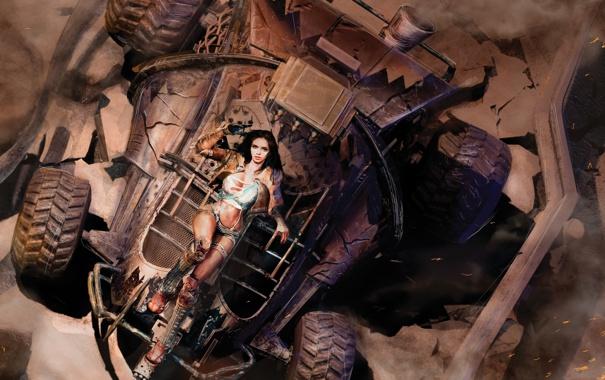 Фото обои песок, машина, девушка, пыль, лежит, Auto Assault
