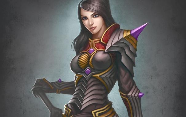 Фото обои armor, lady, brunette, fantasy lady