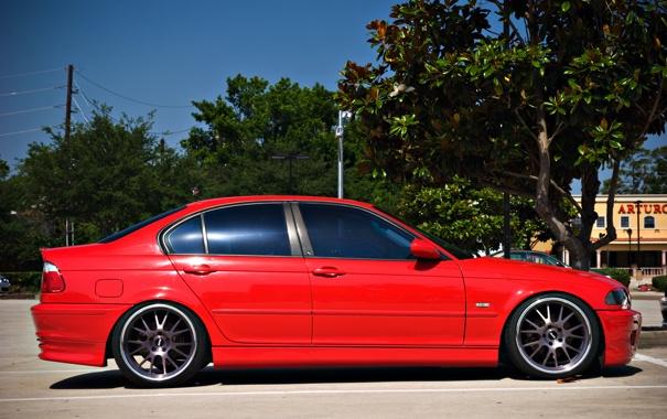 Фото обои бмв, BMW, профиль, red, красная, E46, 3 серия