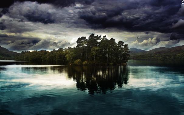 Фото обои гроза, волны, поле, небо, трава, вода, солнце