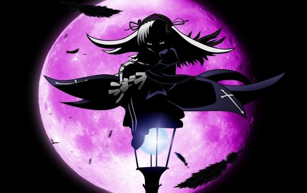 Фото обои ночь, луна, аниме, перья, девочка, фонарь