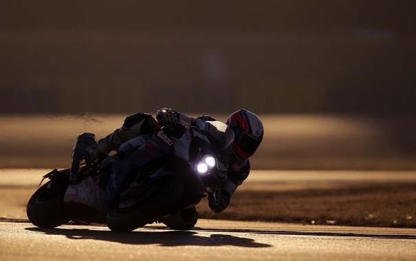 Фото обои фон, вираж, мотоцикл, Suzuki, гонщик, Сузуки, Anthony Delhalle
